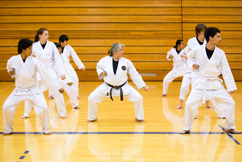 "Sporting the traditional-white gi, students of the Rural Alaska Honors Institute learn basic karate skills during their physical education class, June 18, 2012.  <div class=""ss-paypal-button"">Filename: AAR-12-3440-23.jpg</div><div class=""ss-paypal-button-end"" style=""""></div>"