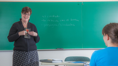 Professor Alexandra Fitts addresses students in her Hispanic Theater class during a recent meeting in the Gruening Building.  Filename: AAR-12-3350-34.jpg
