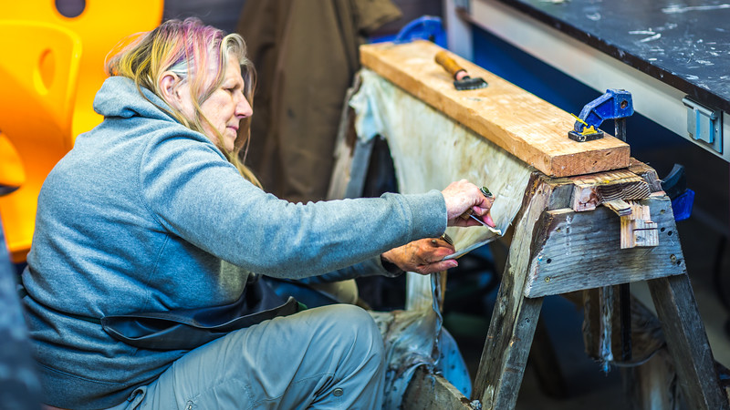"""Community members take a class on treating and making products with local reindeer hides at UAF's Northwest Campus in Nome.  <div class=""""ss-paypal-button"""">Filename: AAR-16-4865-007.jpg</div><div class=""""ss-paypal-button-end""""></div>"""