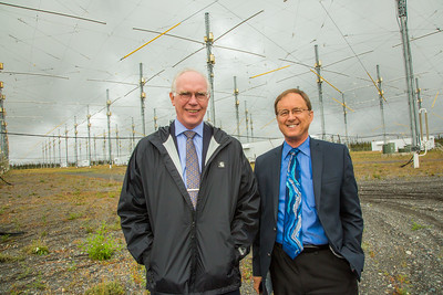 Larry Hinzman, left, interim vice chancellor for research, and Geophysical Institute Director Bob McCoy, pose among the antenae at the High Frequency Active Auroral Research Program (HAARP) facility in Gakona before its official transfer of ownership from the U.S. military to the G.I.  Filename: AAR-15-4600-190.jpg