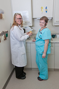 Students in UAF's Community and Technical College Dental Assisting program practice procedures in their 4th floor training facility in CTC building downtown.  Filename: AAR-12-3293-197.jpg