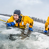 "Jordan Sanchez, left, and Joshua Stern practice cold-water rescue techniques this morning with the University of Alaska Fairbanks Fire Department.  <div class=""ss-paypal-button"">Filename: AAR-13-3797-38.jpg</div><div class=""ss-paypal-button-end"" style=""""></div>"