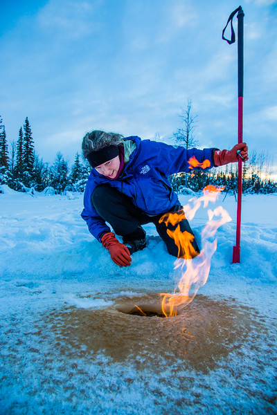 "Research Associate Professor Katey Walter Anthony inspects flaming methane gas seeping from a hole in the ice on the surface of a pond on the UAF campus. The naturally occurring phenomenon is made worse by thawing permafrost and increased plant decay caused by global warming.  <div class=""ss-paypal-button"">Filename: AAR-16-4815-32.jpg</div><div class=""ss-paypal-button-end""></div>"
