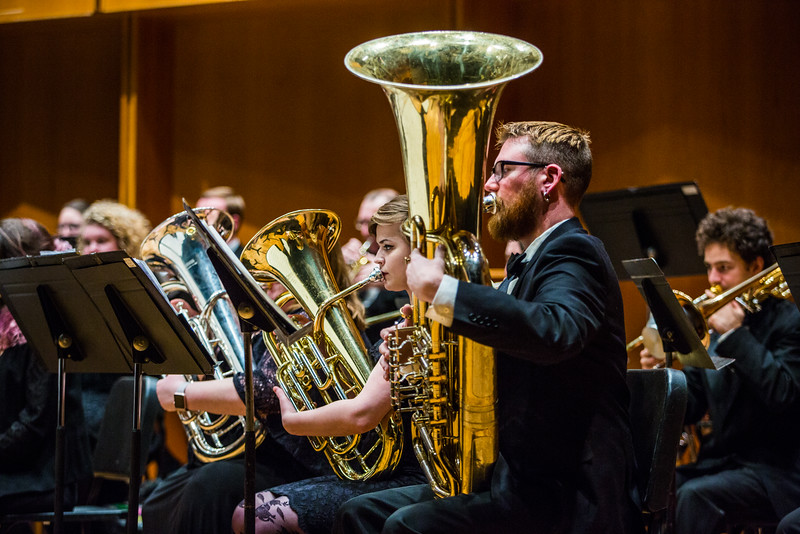 """Members of the UAF Wind Symphony warm up prior to their concert on Nov. 18, 2016.  <div class=""""ss-paypal-button"""">Filename: AAR-16-5070-49.jpg</div><div class=""""ss-paypal-button-end""""></div>"""