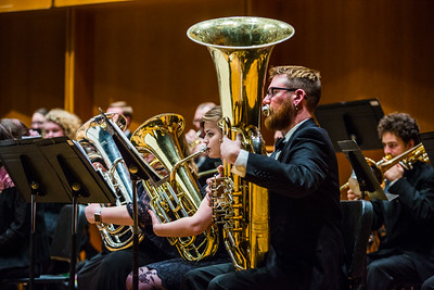 Members of the UAF Wind Symphony warm up prior to their concert on Nov. 18, 2016.  Filename: AAR-16-5070-49.jpg