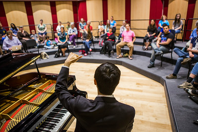 Contestant Martin Leung, also known as the video game pianist, conducts a public lecture during the Alaska International Piano-e-Competition  Filename: AAR-14-4234-6.jpg