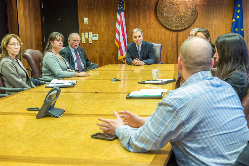 """Alaska Governor Sean Parnell meets with students from Prof. Mike Davis's rural development leadership seminar during their week-long workshop in Juneau.  <div class=""""ss-paypal-button"""">Filename: AAR-14-4053-77.jpg</div><div class=""""ss-paypal-button-end"""" style=""""""""></div>"""