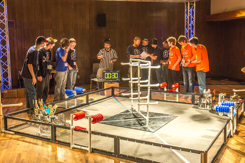 """High school students from throughout Interior Alaska squared off in the Wood Center ballroom in February for an annual robotics competition.  <div class=""""ss-paypal-button"""">Filename: AAR-13-3729-2.jpg</div><div class=""""ss-paypal-button-end"""" style=""""""""></div>"""