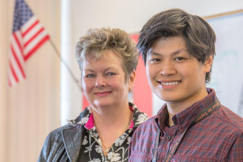 "Associate Professor Ute Kaden meets with education major Bennett Wong during Bennett's internship at Tanana Middle School during the spring 2015 semester.  <div class=""ss-paypal-button"">Filename: AAR-15-4531-19.jpg</div><div class=""ss-paypal-button-end""></div>"