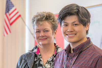 Associate Professor Ute Kaden meets with education major Bennett Wong during Bennett's internship at Tanana Middle School during the spring 2015 semester.  Filename: AAR-15-4531-19.jpg