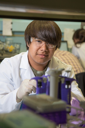 Kyran Ruerup from Fairbanks took part in the six-week RAHI Research summer residence program, learning molecular biology and genetics while working in a research lab on the Fairbanks campus.  Filename: AAR-12-3459-062.jpg