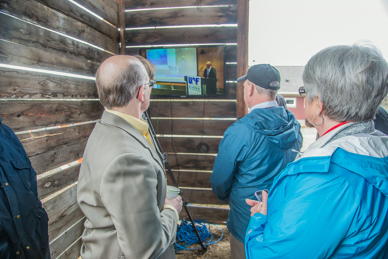 """A simultaneous press conference took place in Anchorage and the UAF Large Animal Research Station May 5 to mark the first official research flight featuring an unmanned aerial vehicle (UAV).  <div class=""""ss-paypal-button"""">Filename: AAR-14-4172-59.jpg</div><div class=""""ss-paypal-button-end""""></div>"""