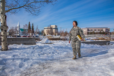 Soldiers like Abraham Coria can take classes through UAF's e-Learning programs while stationed at Fort Wainwright in Fairbanks.T  Filename: AAR-14-4130-103.jpg