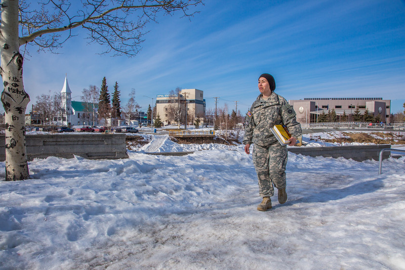 """Soldiers like Abraham Coria can take classes through UAF's e-Learning programs while stationed at Fort Wainwright in Fairbanks.T  <div class=""""ss-paypal-button"""">Filename: AAR-14-4130-103.jpg</div><div class=""""ss-paypal-button-end"""" style=""""""""></div>"""