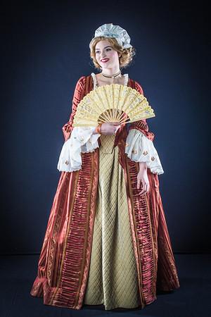 Cast members from Theatre UAF's spring 2014 production of Tartuffe display their costumes.  Filename: AAR-14-4134-38.jpg