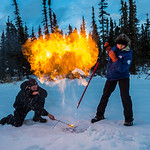 Research Associate Professor Katey Walter Anthony and a research assistant set fire to escaping methane gas trapped beneath the ice on a pond on the UAF campus. The naturally occurring pheno ...