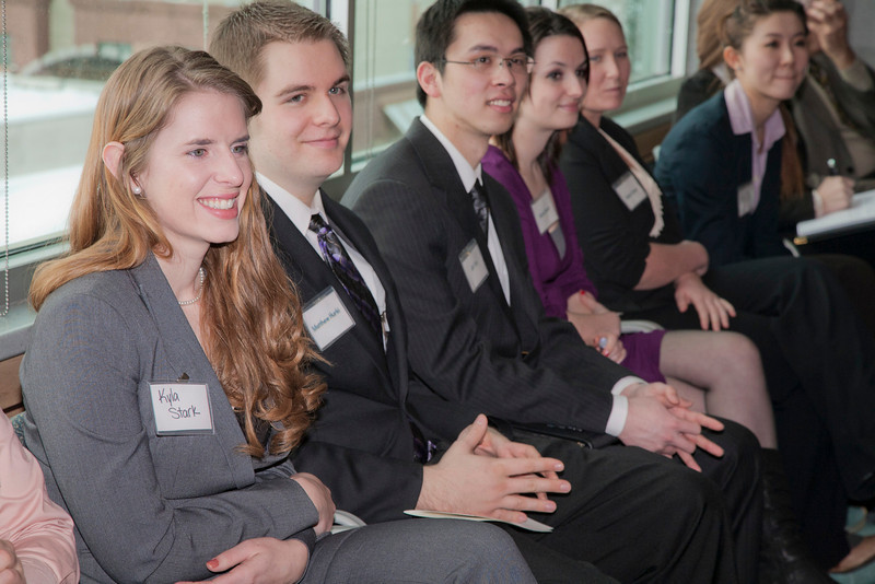 """Students from the School of Management attend an Etiquette Tutorial hosted by accounting firm KPMG.  Many local business leaders participated in the event to offer advice on how to behave during meetings, interviews, and other business events.  <div class=""""ss-paypal-button"""">Filename: AAR-12-3318-45.jpg</div><div class=""""ss-paypal-button-end"""" style=""""""""></div>"""