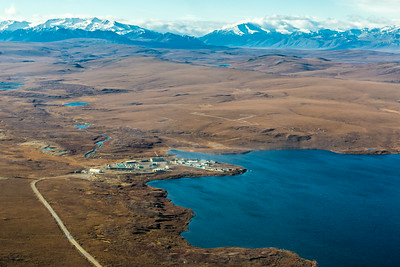 An aerial view of the Toolik Field Station, about 330 miles north of Fairbanks on Alaska's North Slope . The camp is operated by UAF's Institute of Arctic Biology and hosts scientists from around the world for a variety of arctic-based research efforts.  Filename: AAR-13-3929-173.jpg