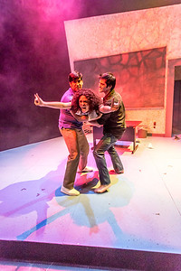 """Cast members Nicole Cowans, center, Sambit Misra, left, and Thomas Petrie rehearse a scene from Theatre UAF's production of """"Speech and Debate.""""  Filename: AAR-13-3755-149.jpg"""