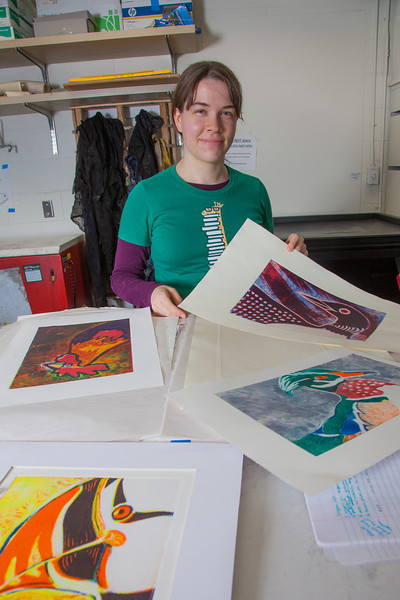 """Senior foreign languages major Lindsey Miller spent lots of time in the printmaking studio in the UAF Fine Arts Complex.  <div class=""""ss-paypal-button"""">Filename: AAR-12-3353-12.jpg</div><div class=""""ss-paypal-button-end"""" style=""""""""></div>"""
