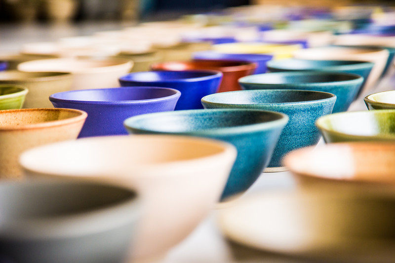 "A few of the 1,200 ceramic bowls made by art major Ian Wilkinson as part of his 2013 senior thesis.  <div class=""ss-paypal-button"">Filename: AAR-13-3770-11.jpg</div><div class=""ss-paypal-button-end"" style=""""></div>"