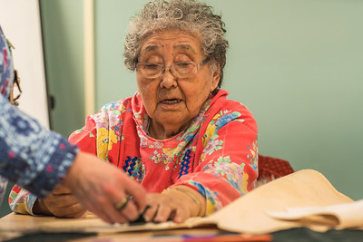 Local elder Eula David leads an evening beading class at UAF's Kuskokwim Campus in Bethel.  Filename: AAR-16-4859-548.jpg