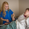 "Kealey Wercrynski, left, and Sara Navy alternate taking each other's vital signs during an exercise in CTC's Nursing Assistant training at the program's facility on Barnette Street in downtown Fairbanks.  <div class=""ss-paypal-button"">Filename: AAR-16-4873-207.jpg</div><div class=""ss-paypal-button-end""></div>"