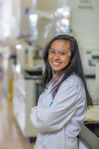 Rachel Gulanes from Dutch Harbor took part in the six-week RAHI Research summer residence program, learning molecular biology and genetics while working in a research lab on the Fairbanks campus.  Filename: AAR-12-3459-147.jpg