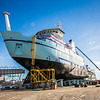 "The R/V Sikuliaq sits on the pad at Marinette Marine Corporation in Marinette, Wisc., a day before it's official launch.  <div class=""ss-paypal-button"">Filename: AAR-12-3592-07.jpg</div><div class=""ss-paypal-button-end"" style=""""></div>"