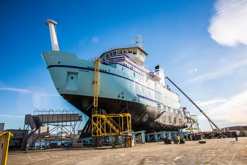 """The R/V Sikuliaq sits on the pad at Marinette Marine Corporation in Marinette, Wisc., a day before it's official launch.  <div class=""""ss-paypal-button"""">Filename: AAR-12-3592-07.jpg</div><div class=""""ss-paypal-button-end"""" style=""""""""></div>"""