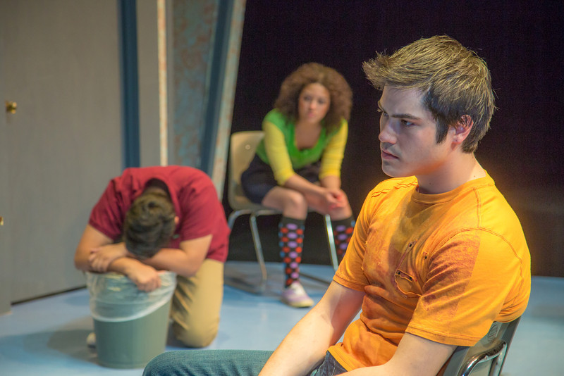 """Cast members in Theatre UAF's production of """"Speech and Debate"""" rehearse a scene in the Salisbury Theatre.  <div class=""""ss-paypal-button"""">Filename: AAR-13-3755-33.jpg</div><div class=""""ss-paypal-button-end"""" style=""""""""></div>"""