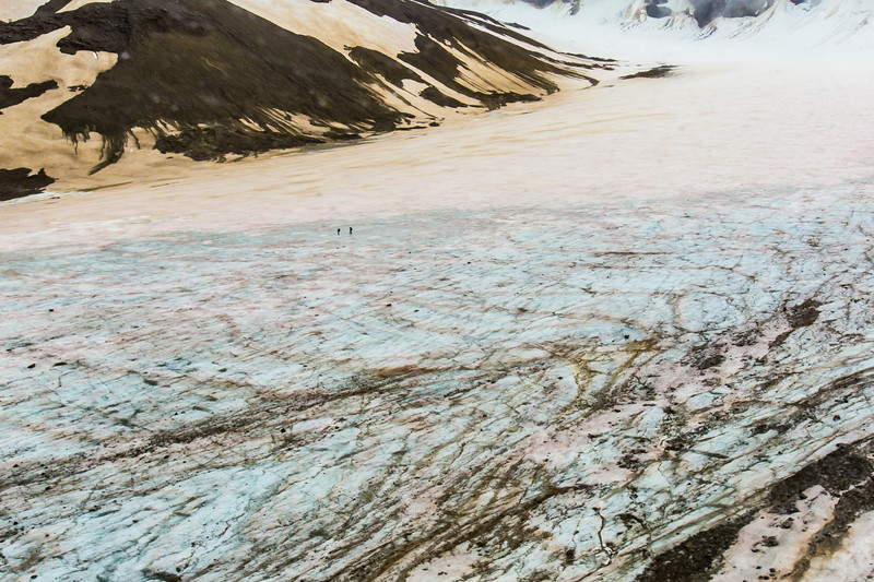 """A team of UAF reseachers gather data while traversing the surface of the Jarvis Glacier in the eastern Alaska Range.  <div class=""""ss-paypal-button"""">Filename: AAR-14-4256-227.jpg</div><div class=""""ss-paypal-button-end""""></div>"""