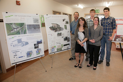 (back left to right) Erik Williams, Garrett Evridge, Lyle Axelarris, (front left to right) Rachael Skye Sturm, and Maura Sateriale, are on Team Circle Visions for the UAF Sustainable Village Design Competition.  Filename: AAR-11-3198-38.jpg