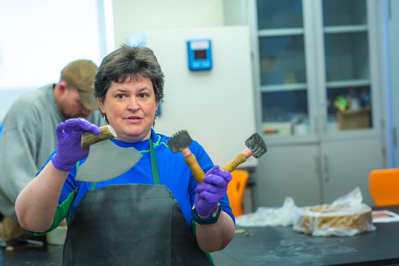 """Jackie Hrabok-Leppajarvi, a shared faculty member with UAF's Northwest Campus in Nome and the Sami Education Institute in Finland, leads a community workshop on tanning and producing products from local reindeer hides.  <div class=""""ss-paypal-button"""">Filename: AAR-16-4865-064.jpg</div><div class=""""ss-paypal-button-end""""></div>"""