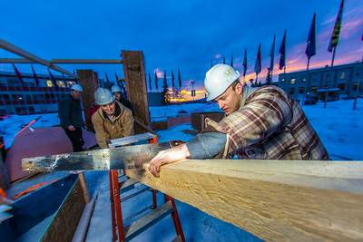 Engineering students meet on a chilly January morning to work on the 2014 ice arch.  Filename: AAR-14-4043-14.jpg