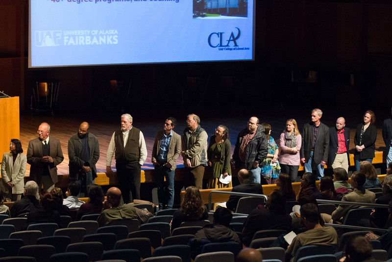"""Department Chairs from the UAF College of Liberal Arts College introduce new staff and faculty during the 2012 CLA Convocation at the Davis Concert Hall.  <div class=""""ss-paypal-button"""">Filename: AAR-12-3558-21.jpg</div><div class=""""ss-paypal-button-end"""" style=""""""""></div>"""