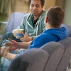 """Ibrahim Ilhan, left, and Nilesh Chandrakant Dixit hold a discussion in the third floor lobby of the Reichardt Building on the Fairbanks campus.  <div class=""""ss-paypal-button"""">Filename: AAR-12-3386-41.jpg</div><div class=""""ss-paypal-button-end"""" style=""""""""></div>"""