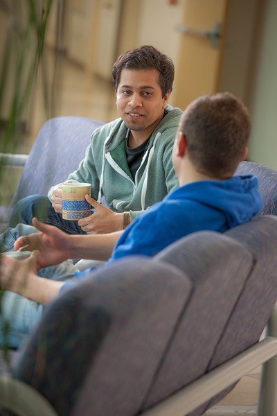 "Ibrahim Ilhan, left, and Nilesh Chandrakant Dixit hold a discussion in the third floor lobby of the Reichardt Building on the Fairbanks campus.  <div class=""ss-paypal-button"">Filename: AAR-12-3386-41.jpg</div><div class=""ss-paypal-button-end"" style=""""></div>"