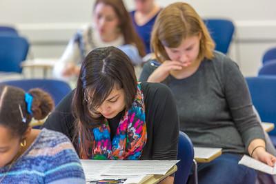 Students in Associate Professor Dani Sheppard's Psychology 335 class, Brain and Behavior, take their final exam Dec. 17 in the Gruening Building.  Filename: AAR-14-4414-143.jpg