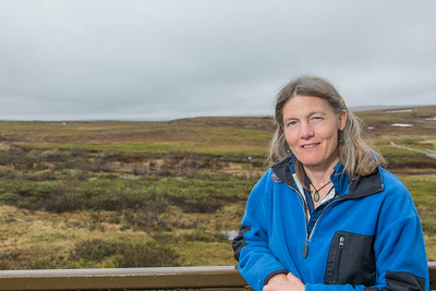Research scientist Martha Raynolds pauses for a photo during a recent visit to the Toolik Field Station on Alaska's North Slope.  Filename: AAR-14-4216-109.jpg