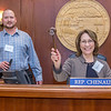 """Helen Foster, a senior in UAF's rural development program from Dillingham, has some fun with the gavel moments after posing with Speaker Mike Chenault in the House chambers during a weeklong seminar on understanding the legislative process in Juneau.  <div class=""""ss-paypal-button"""">Filename: AAR-14-4053-159.jpg</div><div class=""""ss-paypal-button-end"""" style=""""""""></div>"""