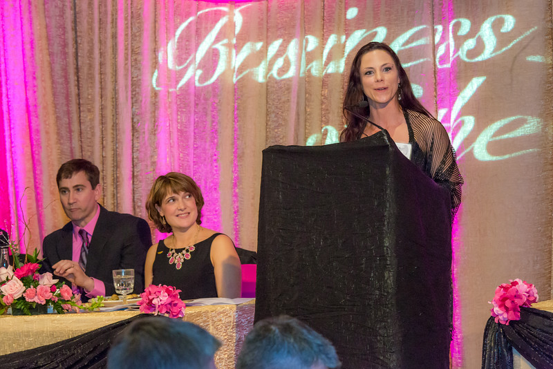 """Rebecca Leivdal, president of UAF's Associated Students of Business, addresses the audience during the annual SOM Business Leader of the Year banquet honoring this year's winner Lorna Shaw.  <div class=""""ss-paypal-button"""">Filename: AAR-14-4154-182.jpg</div><div class=""""ss-paypal-button-end""""></div>"""