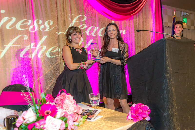 """Rebecca Leivdal, right, president of UAF's Associated Students of Business, presents the annual Business Leader of the Year award to this year's winner Lorna Shaw.  <div class=""""ss-paypal-button"""">Filename: AAR-14-4154-291.jpg</div><div class=""""ss-paypal-button-end""""></div>"""