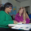 "Lauren Divine, right, a tutor with UAF's Student Support Services, works with Sante Lee-Sonkoh during a session in the SSS study lounge in the Gruening Building.  <div class=""ss-paypal-button"">Filename: AAR-12-3285-043.jpg</div><div class=""ss-paypal-button-end"" style=""""></div>"
