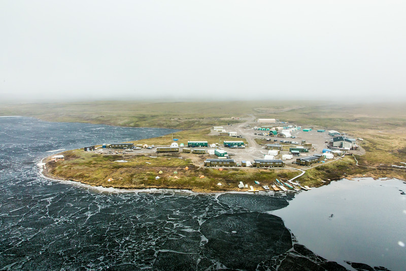 "An aerial view of the Toolik Field Station, about 370 miles north of Fairbanks on Alaska's North Slope . The camp is operated by UAF's Institute of Arctic Biology and hosts scientists from around the world for a variety of arctic-based research efforts.  <div class=""ss-paypal-button"">Filename: AAR-14-4216-251.jpg</div><div class=""ss-paypal-button-end""></div>"