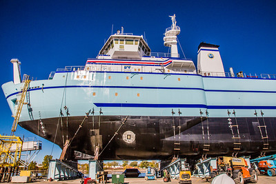 The R/V Sikuliaq sits on the pad at Marinette Marine Corporation in Marinette, Wisc., a day before it's official launch.  Filename: AAR-12-3592-245.jpg