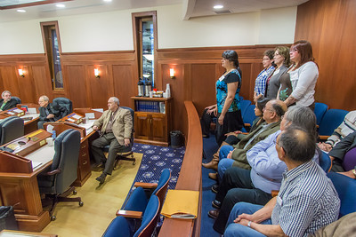 A group of students from rural Alaska attending a weeklong seminar on Understanding the Legislative Process in Juneau are introduced on the floor of the Alaska State House of Representatives.  Filename: AAR-14-4054-113.jpg