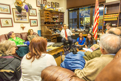 Students from UAF's Alaska Native Studies and Rural Development program meet with Senator Donny Olson in his office during their weeklong seminar on Understanding the Legislative Process in the state capital of Juneau.  Filename: AAR-14-4054-343.jpg