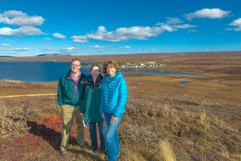 "Senator Lisa Murkowski, right, poses with Professors Brian Barnes and Donie Brett-Harte during the senator's brief visit to UAF's Toolik Field Station about 330 miles north of Fairbanks in Sept, 2013.  <div class=""ss-paypal-button"">Filename: AAR-13-3929-354.jpg</div><div class=""ss-paypal-button-end""></div>"