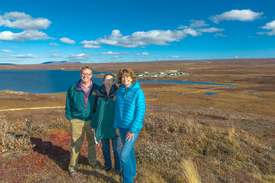 Senator Lisa Murkowski, right, poses with Professors Brian Barnes and Donie Brett-Harte during the senator's brief visit to UAF's Toolik Field Station about 330 miles north of Fairbanks in Sept, 2013.  Filename: AAR-13-3929-354.jpg